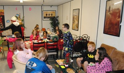 pajama Christmas party is getting underway